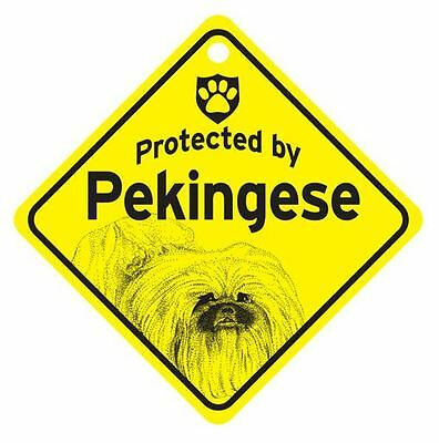 Protected by Pekingese  Dog Car Window Sign