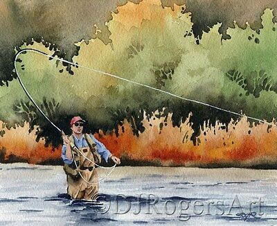 """Fly Fishing """"HOOKED UP"""" Watercolor 8 x 10 ART Print Signed by Artist DJR"""
