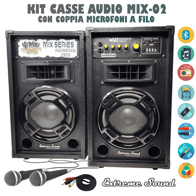 Impianto 2 Casse Karaoke 1200W Bluetooth 2 Microfoni Cavo Pc Software Mix-02-Kit