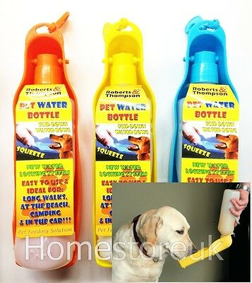 Pet Dog Puppy Cat Animal Carry Water Bottle Feeder Bowl Plastic For Travel Rt804