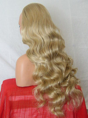 Half Wig Fall Clip In Hair Piece Curly Long 3/4 wig fall Blonde Mix cheap X-20