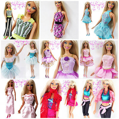 10Pcs Fashion Mini Cute Outfits Dresses & Skirt & Clothes For Barbie Doll Xmas