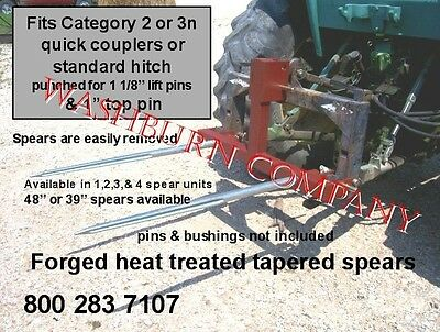 """Hay bale mover carrier 2  48"""" spears for quick coupler"""
