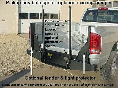 Pickup Hay Bale Spear Below Bed is Bumper Mounted