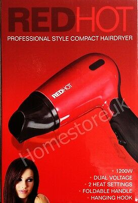 Red Hot 1.6M Cord Compact Dual Voltage 1200W Foldable Hair Dry Dryer Travel 7070