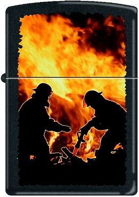 Zippo Firemen Silhouettes Fire FD Black Matte Windproof Lighter NEW RARE