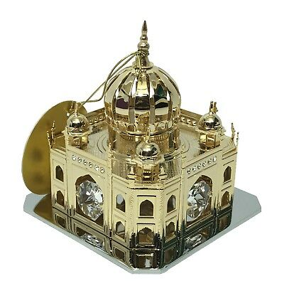 24K Crystal Temptation Temple Indian Taj Mahal Mosque Gold Plated Ornament Gift