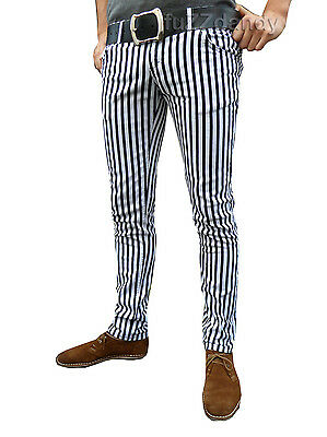 Drainpipes trousers jeans vtg 80s 60s indie mod pin stripe white black hipsters