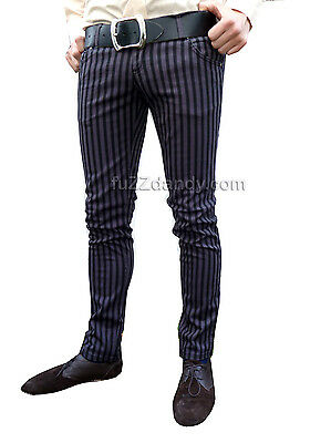 Mens Drainpipes trousers jeans vtg 60s indie mod pin stripe grey black Hipsters