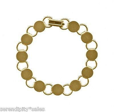 30 GOLD Plated BRACELET Blanks Forms ~ 11 pads for Beads ~ 7 inch Long