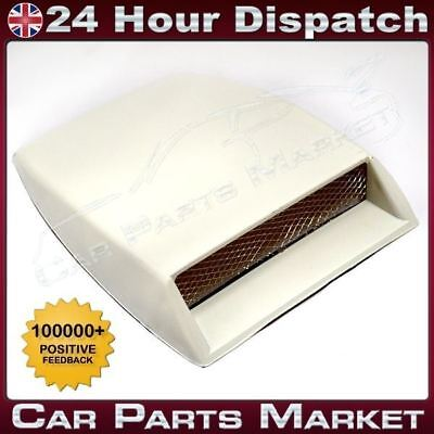 Universal Air Flow Intake Scoop Bonnet Vent Cover Hood White Style