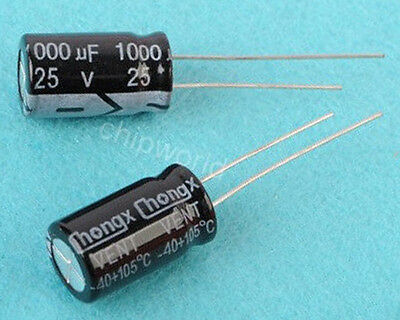 10PCS 1000uF 25V Radial Electrolytic Capacitor 10x17mm 105°C