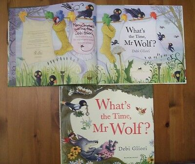 Debi Gliori Signed Inscribed Drawing What's The Time Mr Wolf? 1/1 Uk Hb/dj 2012
