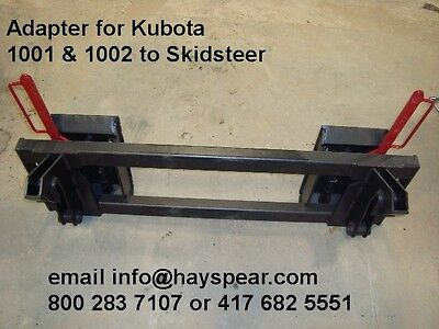 Adapter for Kubota 1001 1002 quick attach to Skid Steer