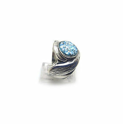 Romantic 925 Sterling Silver Ancient Roman Glass Ring Custom Size 5