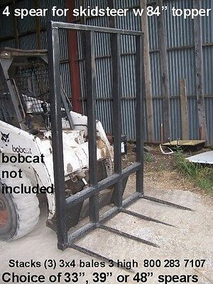 skid steer hay bale loader w/4 spears 48 inches long