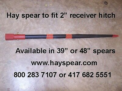 "Hay bale spear fits 2"" receiver hitch with 39"" spike"