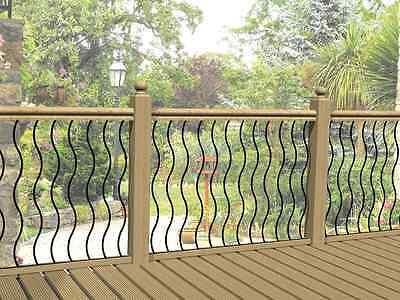 Metal garden decking railing panels / patio rails / steel balustrade fencing