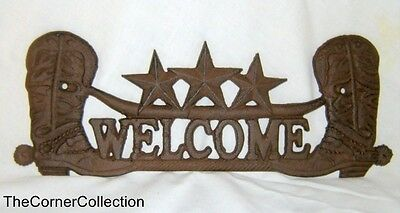 Vintage Rustic Look Cast Iron Boots & Stars Welcome Sign