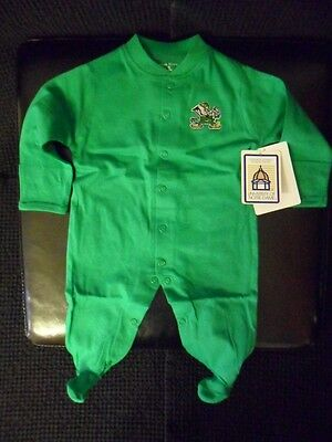 New ND Notre Dame Irish Long Sleeve Footed Romper w/ Snaps Infant Baby Newborn