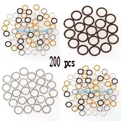 Wholesale 200Pcs Tibetan Silver Copper Tone Twist-Ring Charm For Jewelry Making