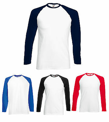 3 FRUIT OF THE LOOM LONG SLEEVED BASEBALL T SHIRT S - XXL - 6 Colours Fast Post