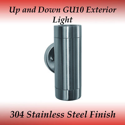 2 Light Up and Down GU10 External Wall Light in 304 Stainless Steel