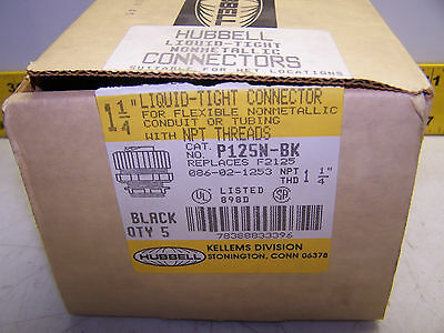 "New Hubbell Liquid-Tight Connector 1-1/4"" P125N-Bk Box Of 5"