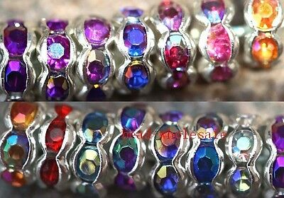 100pcs Round Acrylic Crystal Findings Diy Beads Spacer 6mm AB For Earrings
