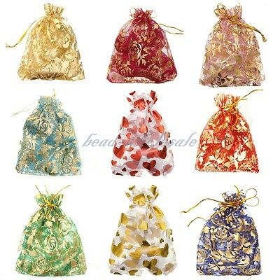 New 10-100pc Organza Bag Jewelry Packing Pouch For Wedding Gift Bags 10x12cm