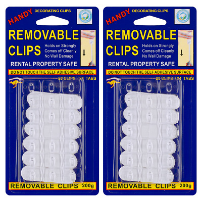 20PC Removable Adhesive Wall Hooks Clips Decoration Hanger Rental Property Safe