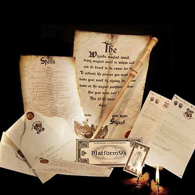 Harry Potter style Real Wooden wand + Full Hogwarts Acceptance Letter + Ticket !