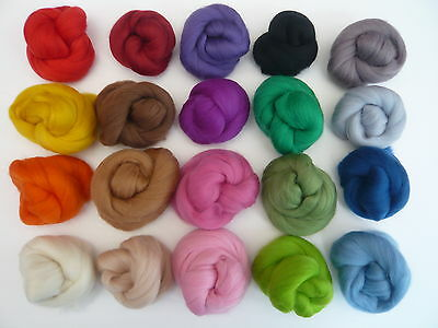Heidifeathers Merino Felting Wool in 20 Different Colours - Wool Tops / Roving