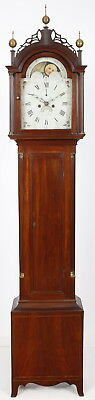 Early American Grandfather Tall Case Clock David Wood Newburyport Mass Original!