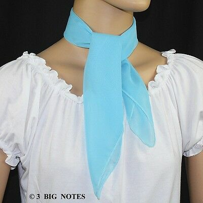50s Style AQUA BLUE Sheer Chiffon Square Scarf for Poodle Skirt/ Sock Hop