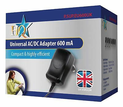 HQ Universal AC/DC Adapter 600mA  3V, 4.5V, 5V, 6V, 9V and 12V output