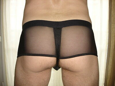 Boxer Shorty noir transparent  tour de taille 67-100 cm sexy Ref  S20 sexy gay