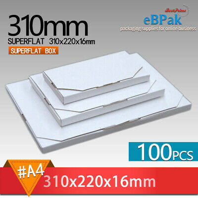 100x Mailing Box - SuperFlat A4 310x220x16mm #04 size Rigid Envelope Mailer