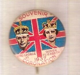 #b. Australian Tin Badge - 1937 Coronation George Vi & Elizabeth