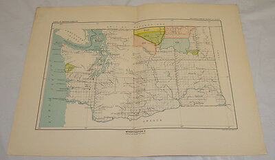 1899 COLOR Map of WASHINGTON with INDIAN LAND CESSIONS & VILLAGES/FORTS/B