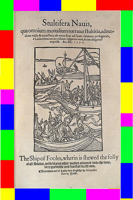 1570 $60,000 EARLY-OLD-ENGLISH THE SHIP OF FOOLS Woodcuts Antique Post Incunable