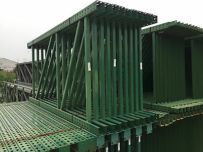 Used Teardrop Pallet Rack Shelving Racking Sections scaffolding one run 128.5'