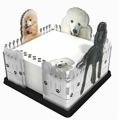 Poodle Note Pad Holder W/ Sticky Notes Post It Memo Acrylic Gift