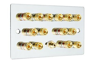 Polished Chrome 7.1 Surround Sound Speaker Wall Face Plate Gold Binding Posts
