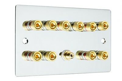 Polished Chrome 5.1 Surround Sound Speaker Wall Face Plate Gold Binding Posts