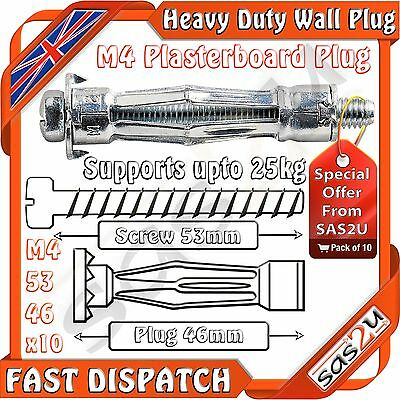 10 Piranha Molly M4 Metal Cavity Wall Plasterboard Fixing Anchor Plug 53mm Screw
