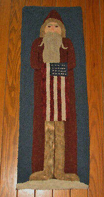 "Primitive Hooked Rug Pattern On Monks ""santa 2012"""
