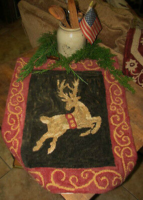 "Primitive Hooked Rug Pattern On Monks ""prancer"""
