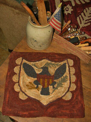 "Primitive Hooked Rug Pattern On Monks ""fraktur Eagle"""