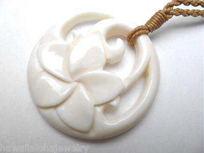 37.5mm Maori Carved Frangipani Plumeria Flower Koru Buffalo Bone Pendant 27""